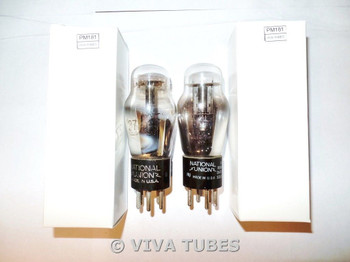 Matched Pair National Union NU USA Type 27 ENGRAVED Rattle Vacuum Tubes 80%