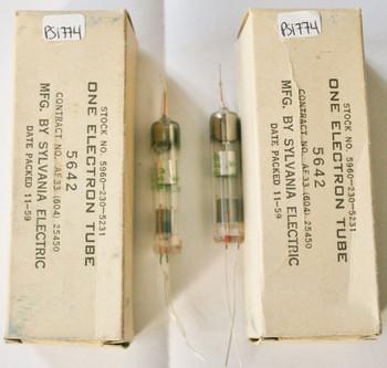 NIB Date Matched Pair Sylvania US 5642 Submiliature Vacuum Tube
