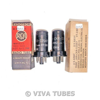 NOS Matched Pair Ken-Rad USA JAN-CKR-12SH7/VT-288 Vacuum Tubes 100+%
