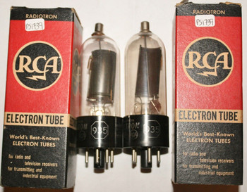 NIB Date Matched Pair RCA USA 935 Black Plate Thimble Get Vacuum Tube