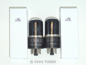 NOS Matched Pair Ken-Rad USA 6SA7GT Plate Bottom Get Smoked Glass Vacuum Tubes