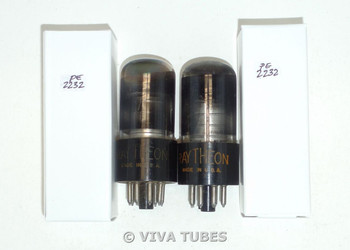 NOS Matched Pair Raytheon US 6SA7GT Silver Plate Smoked Glass Vacuum Tubes