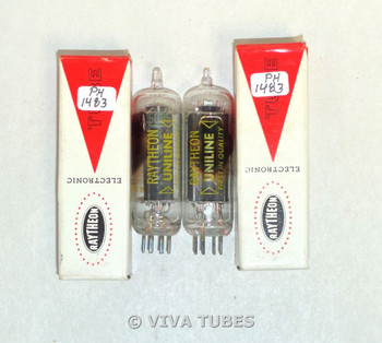 NOS NIB Date Matched Pair Raytheon Unline USA 50B5 Black Plate Vacuum Tubes