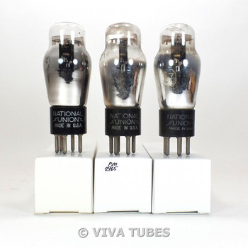 Matched Trio (3) NU National Union USA Type 27 Black Plate Vacuum Tubes 85%