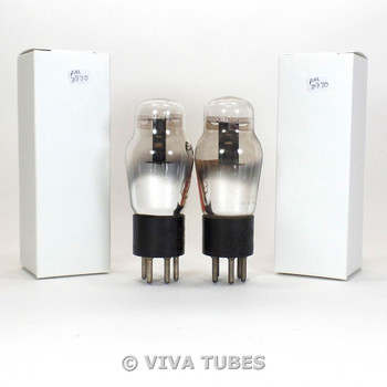 Matched Pair RCA Cunningham USA Type 27 Black Plate ENGRAVED Vacuum Tubes 80%