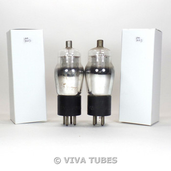 Tests NOS Date Matched Pair Sylvania Type 34 Silver ENGRAVED Rattle Vacuum Tubes