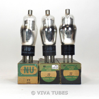 True NOS NIB Matched Trio (3) NU National Union USA Type 77 Vacuum Tubes