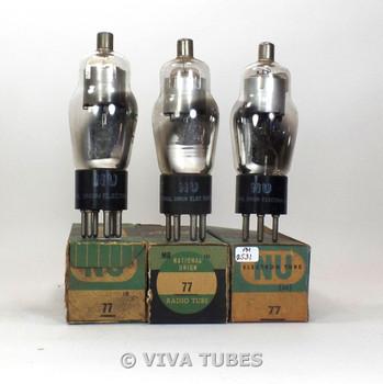 True NOS NIB Matched Trio (3) NU National Union USA Type 77 Vacuum Tubes 100+%