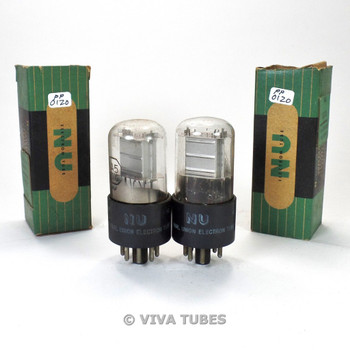 True NOS NIB Date Matched Pair National Union NU USA 1A5GT Cracked Base Tubes