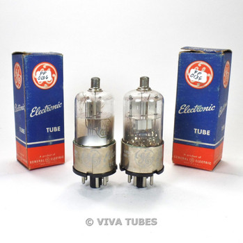True NOS NIB Date Matched Pair GE USA 1H5GT Cracked Base Vacuum Tubes