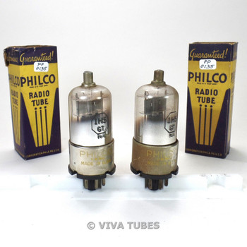 True NIB NOS Date Matched Pair Philco USA 1H5GT Gun Metal Plate Vacuum Tubes