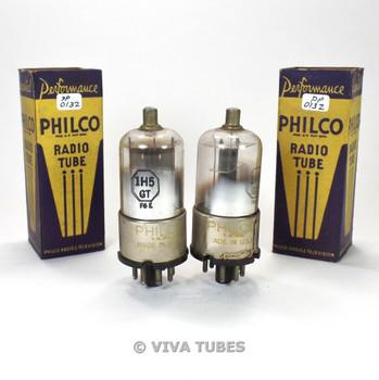 True NOS NIB Date Matched Pair Philco US 1H5GT Gun Metal Plate Vacuum Tubes