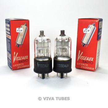 True NOS NIB Date Matched Pair Visseaux France 1H5GT Silver Plate Vacuum Tubes