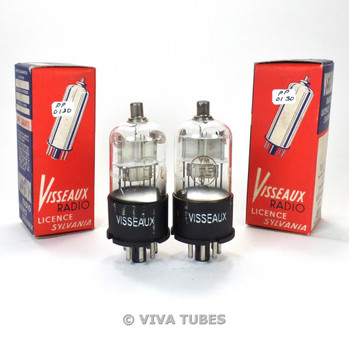 True NIB NOS Date Matched Pair Visseaux France 1H5GT Round Plate Vacuum Tubes