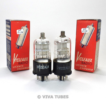 True NOS NIB Date Matched Pair Visseaux France 1H5GT Plate Vacuum Tubes