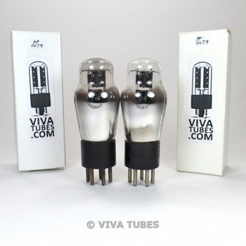 Tests NOS Date Matched Pair Philco USA 84 = 6Z4 Black Plate ENGRAVED Tubes
