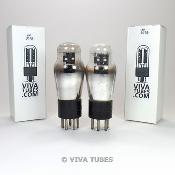 Tests NOS Matched Pair Philco USA 84 6Z4 Black Plate ENGRAVED Vacuum Tubes