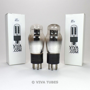 Tests NOS Matched Pair Philco USA 84/6Z4 Black Plate ENGRAVED Vacuum Tubes