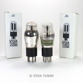 Tests NOS Matched Pair Super Silvetone USA 84 = 6Z4 ENGRAVED S-Rods Vacuum Tubes