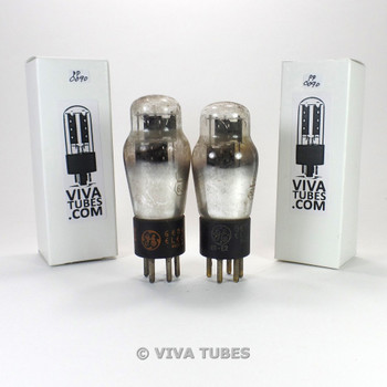 Tests NOS Matched Pair GE USA 84/6Z4 Black Plate 3 Mica Vacuum Tubes 100+%