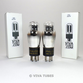 Tests NOS Date Matched Pair Philco USA 84/6Z4 Black Plate 3 Mica Vacuum Tubes
