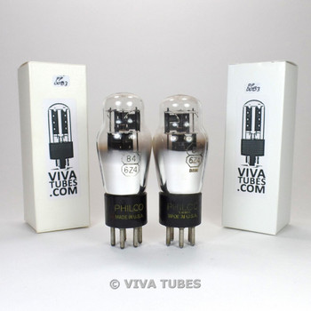 Tests NOS Matched Pair Philco USA 84/6Z4 Black Plate 3 Mica Vacuum Tubes 100+%