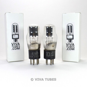 Tests NOS Date Matched Pair RCA Victor USA 84/6Z4 Black Plate Vacuum Tubes 100+%