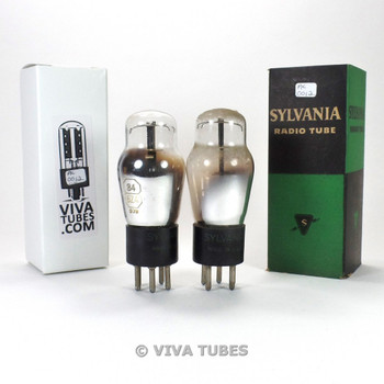 Tests NOS Date Matched Pair Sylvania USA 84/6Z4 3 Mica Cracked Base Vacuum Tubes
