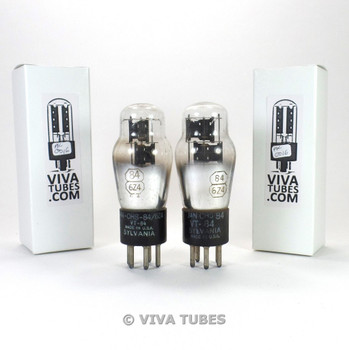 Tests NOS Matched Pair Sylvania USA JAN-CHS-84/6Z4/VT-84 3 Mica Rattle Tubes