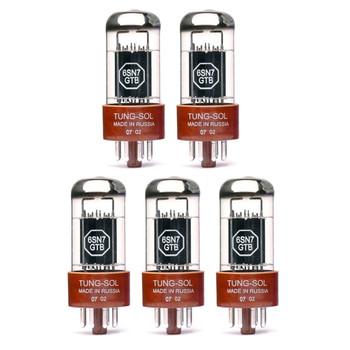 New Matched Quintet (5) Tung-Sol 6SN7GTB Vacuum Tubes