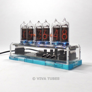 NIXIE Vacuum Tube Clock 6 Digit Clear Acrylic Enclosure 99 LED Color Options