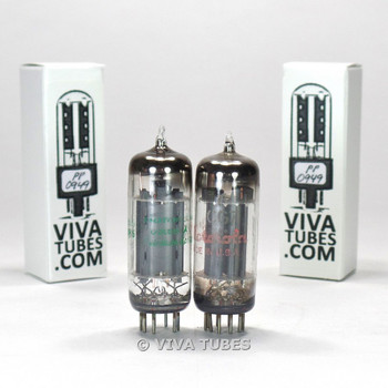 Tests NOS Matched Pair GE USA 6CG7 [6FQ7] 3 Grey Plate Vacuum Tubes 100%