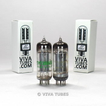 Tests NOS Matched Pair Sylvania USA 6CG7 [6FQ7] 3 Grey Plate Vacuum Tubes