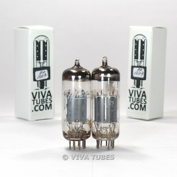 Tests NOS Matched Pair Mico Japan 6FQ7 [6CG7] 2 Grey T Short Plate Vacuum Tubes