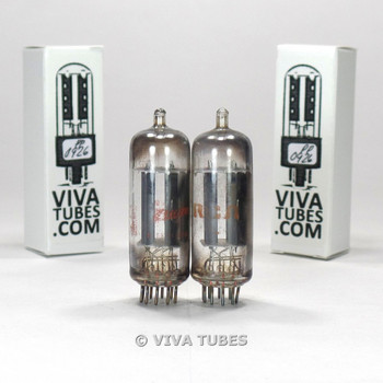 Matched Pair RCA CLEAR TOP USA 6FQ7 [6CG7] 2 Grey Ladder Plate Vacuum Tubes 89%