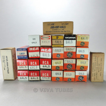 Lot of Type 6AL5/EAA91/EB91 - 53 Untested, Vintage, Boxed/Loose Vacuum Tubes