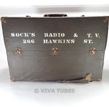 Large, Dark Brown/Black Vintage Radio TV Vacuum Tube Valve Caddy Carrying Case