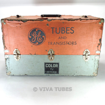Large Orange & Grey, GE Vintage Radio TV Vacuum Tube Valve Caddy Carrying Case