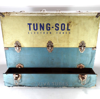 Large , Blue & Cream, Tung-Sol, Vintage Radio TV Vacuum Tube Valve Caddy Case