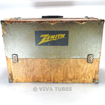 Large, Grey Speckled, Zenith, Vintage Radio TV Vacuum Tube Caddy Carrying Case