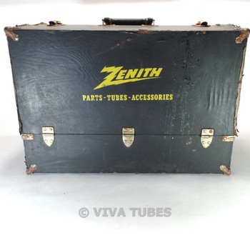 Large Black & Yellow, Zenith, Vintage Radio TV Vacuum Tube Caddy Carrying Case