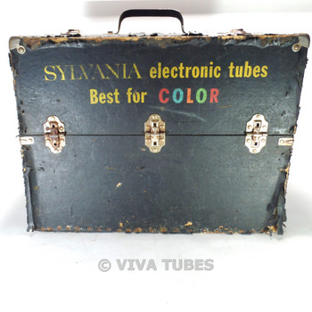 Large, Black, Sylvania, Vintage Radio  Vacuum Tube Valve Caddy Carrying Case
