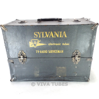 Small, Black, Sylvania, Vintage Radio Vacuum Tube Valve Caddy Carrying Case