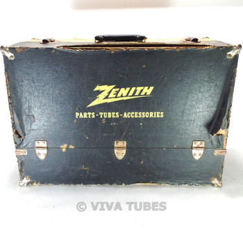 Large, Black & Yellow, Sylvania, Vintage Radio TV Vacuum Tube Caddy Case