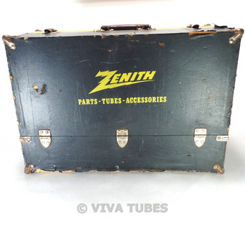 Large, Black & Yellow, Zenith, Vintage Radio TV Vacuum Tube Caddy Carrying Case