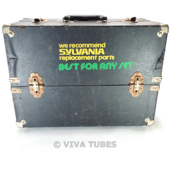 Small, Black, Sylvania, Vintage Radio TV Vacuum Tube Valve Caddy Carrying Case
