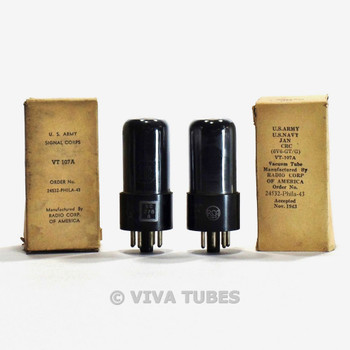 True NOS NIB Matched Pair RCA USA VT-107A/6V6GT Black Plate Smoked Vacuum Tubes