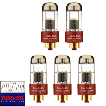 Brand New Gain Matched Quintet (5) Tung-Sol Reissue 6SL7 Gold Pin Vacuum Tubes