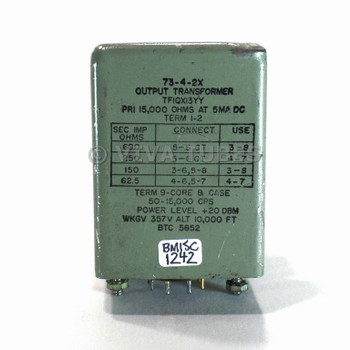 Vintage Unknown 73-4-2X Tube Amp 357 VDC Output Transformer 600/250/150/62.5ohm