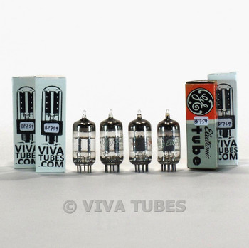 Tests NOS Matched Quad (4) GE USA 12AT7/ ECC81 Grey Plate O Get Vacuum Tubes